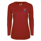 Ladies Syntrel Performance Cardinal Longsleeve Shirt-Split P