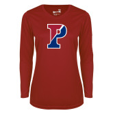 Ladies Syntrel Performance Cardinal Longsleeve Shirt-Split P