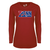 Ladies Syntrel Performance Cardinal Longsleeve Shirt-Penn Golf