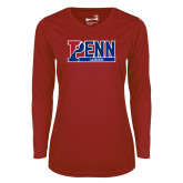 Ladies Syntrel Performance Cardinal Longsleeve Shirt-Penn Lacrosse
