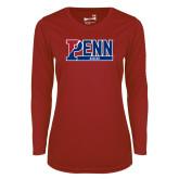 Ladies Syntrel Performance Cardinal Longsleeve Shirt-Penn Soccer