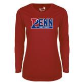 Ladies Syntrel Performance Cardinal Longsleeve Shirt-Penn Cross Country