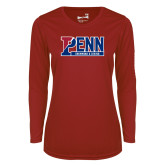 Ladies Syntrel Performance Cardinal Longsleeve Shirt-Penn Swimming and Diving