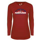Ladies Syntrel Performance Cardinal Longsleeve Shirt-Penn Football Stacked