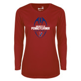 Ladies Syntrel Performance Cardinal Longsleeve Shirt-Penn Football Vertical