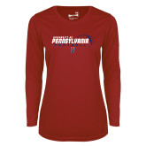 Ladies Syntrel Performance Cardinal Longsleeve Shirt-Penn Football Flat