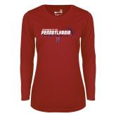Ladies Syntrel Performance Cardinal Longsleeve Shirt-Penn Football Flat