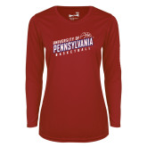 Ladies Syntrel Performance Cardinal Longsleeve Shirt-Pennsylvania Basketball Slanted