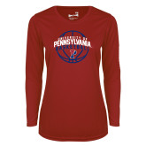 Ladies Syntrel Performance Cardinal Longsleeve Shirt-Pennsylvania Basketball Arched