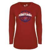 Ladies Syntrel Performance Cardinal Longsleeve Shirt-Pennsylvania Basketball Arched