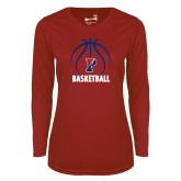Ladies Syntrel Performance Cardinal Longsleeve Shirt-Penn Basketball Under Ball