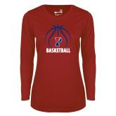 Ladies Syntrel Performance Cardinal Longsleeve Shirt-Penn Basketball Under Ball