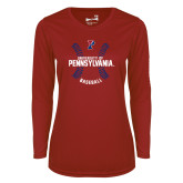 Ladies Syntrel Performance Cardinal Longsleeve Shirt-Pennsylvania Baseball Seams