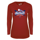 Ladies Syntrel Performance Cardinal Longsleeve Shirt-Penn Softball Crossed Bats