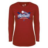 Ladies Syntrel Performance Cardinal Longsleeve Shirt-Penn Softball Crossed Bats