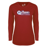 Ladies Syntrel Performance Cardinal Longsleeve Shirt-Penn Softball Script
