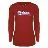 Ladies Syntrel Performance Cardinal Longsleeve Shirt-Penn Softball Script