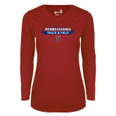 Ladies Syntrel Performance Cardinal Longsleeve Shirt-Pennsylvania Track and Field Banner