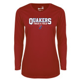 Ladies Syntrel Performance Cardinal Longsleeve Shirt-Quakers Track and Field