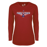 Ladies Syntrel Performance Cardinal Longsleeve Shirt-Track and Field Front Shoe