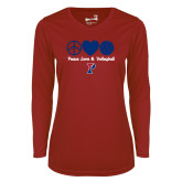 Ladies Syntrel Performance Cardinal Longsleeve Shirt-Peace Love & Volleyball