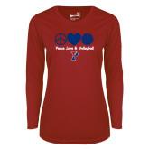 Ladies Syntrel Performance Cardinal Longsleeve Shirt-Peace Love & Volleyball