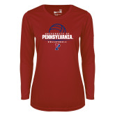 Ladies Syntrel Performance Cardinal Longsleeve Shirt-Pennsylvania Volleyball Half Ball