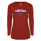 Ladies Syntrel Performance Cardinal Longsleeve Shirt-Pennsylvania Lacrosse Stick