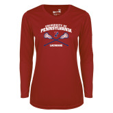 Ladies Syntrel Performance Cardinal Longsleeve Shirt-Pennsylvania Lacrosse Crossed Sticks