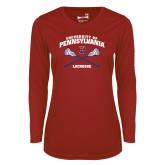 Ladies Syntrel Performance Cardinal Longsleeve Shirt-Pennsylvania Lacrosse Crossed Sticks