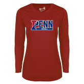 Ladies Syntrel Performance Cardinal Longsleeve Shirt-Penn Football