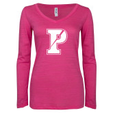 ENZA Ladies Hot Pink Long Sleeve V Neck Tee-Split P