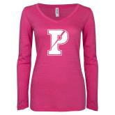 ENZA Ladies Hot Pink Long Sleeve V Neck Tee-Split P