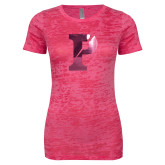 Next Level Ladies Junior Fit Fuchsia Burnout Tee-Split P Foil
