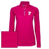 Ladies Pink Raspberry Sport Wick Textured 1/4 Zip Pullover-Split P