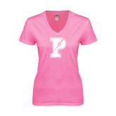 Next Level Ladies Junior Fit Deep V Pink Tee-Split P
