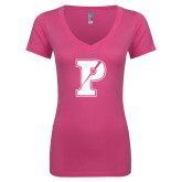 Next Level Ladies Junior Fit Ideal V Pink Tee-Split P