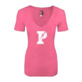 Next Level Ladies Vintage Pink Tri Blend V-Neck Tee-Split P