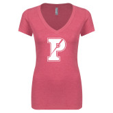 Next Level Ladies Vintage Pink Tri Blend V Neck Tee-Split P
