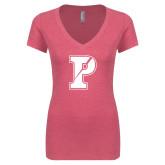 Next Level Ladies Vintage Pink Tri Blend V Neck Tee-Split P