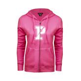 ENZA Ladies Fuchsia Fleece Full Zip Hoodie-Split P