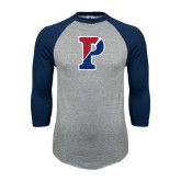 Grey/Navy Raglan Baseball T Shirt-Split P
