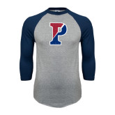 Grey/Navy Raglan Baseball T Shirt-Split P Distressed