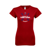 Next Level Ladies Softstyle Junior Fitted Cardinal Tee-Pennsylvania Baseball Seams