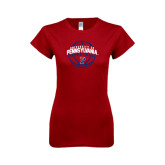 Next Level Ladies Softstyle Junior Fitted Cardinal Tee-Pennsylvania Basketball in Ball