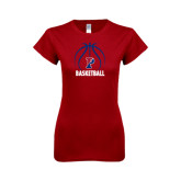 Next Level Ladies Softstyle Junior Fitted Cardinal Tee-Penn Basketball Stacked w/ Ball