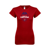 Next Level Ladies Softstyle Junior Fitted Cardinal Tee-Penn Football Vertical