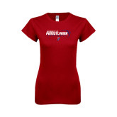 Next Level Ladies Softstyle Junior Fitted Cardinal Tee-Pennsylvania Football Stacked