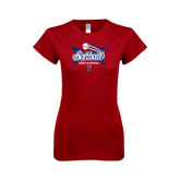 Next Level Ladies Softstyle Junior Fitted Cardinal Tee-Softball w/ Crossed Bats