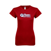 Next Level Ladies Softstyle Junior Fitted Cardinal Tee-Penn Softball Script